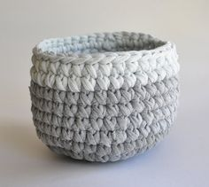 Gray Ombre Crochet Basket Ecofriendly Storage by ekra