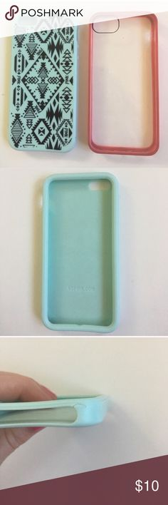 2 IPhone Cases VS PINK Tribal Turquoise Blue Clear 🎉HOST PICK🎉 2 iPhone 5/5s Cases  Victoria's Secret PINK Tribal Print Turquoise Tiffany Blue color, with black design Super cute Has a small tear on bottom see picture  Griffin Reveal Clear iPhone Case with Hot Pink outside bumper, has some small scratches, has some discoloring on corners  Please ask any questions  🚫No trades🚫 📦Ask About Bundle Discounts💰 PINK Victoria's Secret Accessories Phone Cases