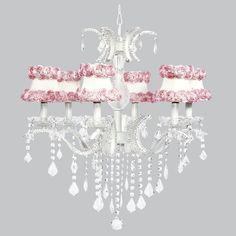 Kids Room White Pink Crystal Chandelier Light Fixture Nursery Bedroom Lighting