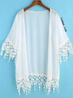 White Half Sleeve Lace Embellished Kimono
