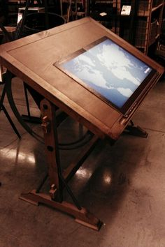 Solid wood drafting desk