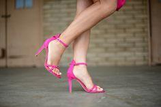 Joie Jade suede ankle strap hot pink heels.