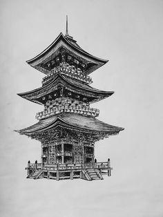 Geisha Tattoo Design, Japan Tattoo Design, Chinese Sleeve Tattoos, Irezumi, Japanese Temple Tattoo, Dog Portrait Tattoo, Temple Drawing, Japanese Tattoos For Men, Gem Tattoo
