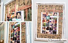 52 Mantels: Burlap and Twine Photo Board