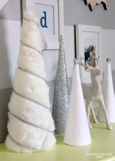 A Turquoise, Blue and Silver Christmas - give your cone trees a new 'Dress' to go with whatever your decor is! Creative!