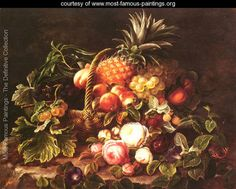 A Still Life Of A Basket Of Fruit And Roses - Johan Laurentz Jensen - www.most-famous-paintings.org
