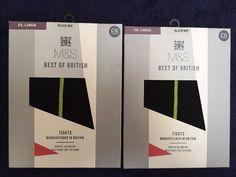2X M&S BEST OF BRITISH Tights Size XL BNWB RRP£16 Black mix