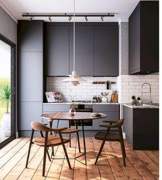 Small Dining Room Design Ideas Apartment Therapy - home design Home Decor Kitchen, Interior Design Kitchen, Kitchen Furniture, Home Kitchens, Country Furniture, Black Kitchens, Kitchen Dining, Kitchen Cabinets, Small Room Design