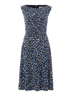 Linea  Sleeveless Dot Ruched Waist Dress