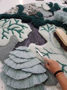 , vanessa barragão upcycles industrial textile waste with the ocean tapestry - v. , vanessa barragão upcycles industrial textile waste with the ocean tapestry - vanessa barragao ocean tapestry - Textile Fiber Art, Textile Fabrics, Textile Artists, Weaving Art, Tapestry Weaving, Textile Tapestry, Blue Tapestry, Fabric Manipulation, Rug Hooking