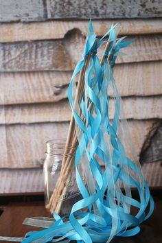 Blue Ribbon Wands Teal and Aqua Streamers 12 by YourGreatestStory