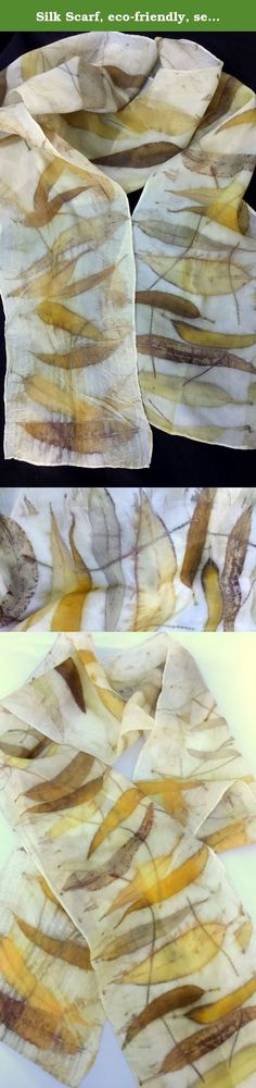 """Silk Scarf, eco-friendly, self sustaining, all natural plant leaves art 8 x 72"""". This silk scarf is eco-printed with willow oak and pine to create an all natural design. Size 8"""" x 72"""", 100% pure silk. You can see the design and shades of bronze, brown, gold and off white the length of the scarf. Comes with a tag with the story of its making. Only 1 available. Ready to ship. Easy care: Hand wash cold water (mild soap) drip dry or quick tumble dry. Iron as needed."""