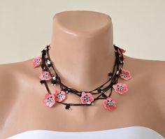 Crochet Necklace Sakura Flowers Cherry Blossom Oya by ReddApple