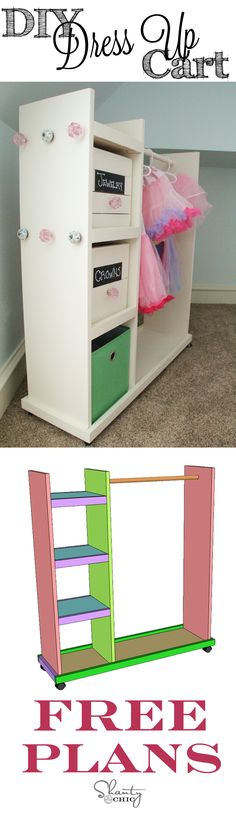 furniture plans CUTE dress up storage cart with FREE Plans and easy-to- tutorial! DIy Furniture plans build your own furniture Woodworking Plans, Woodworking Projects, Diy Projects, Woodworking Patterns, Diy Furniture Plans, Kids Furniture, Furniture Storage, Bedroom Storage, Playroom Storage