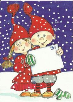 Virpi Pekkala - Hey,it's ok!We can paint the world so many colors,life is a canvas:Hope&Promise Christmas Arts And Crafts, Christmas Elf, Vintage Christmas, Christmas Cards, Christmas Ornaments, Illustration Noel, Winter Illustration, Christmas Illustration, Christmas Drawing