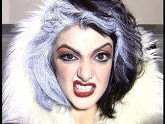 CRUELLA DEVILLE ( Glenn Close) inspired makeup - YouTube