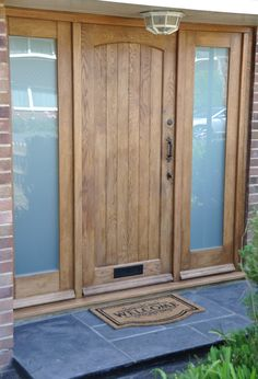 New Solid Oak Front Door Design Ideas Front Door Steps, Oak Front Door, Front Door Porch, Wooden Front Doors, House Front Door, Front Door Design, Glass Front Door, Oak Doors, Panel Doors