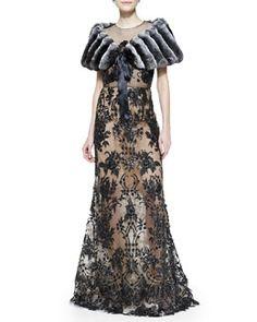-567P Oscar de la Renta Chinchilla Fur Stole with Ribbon & Embroidered Lace Gown