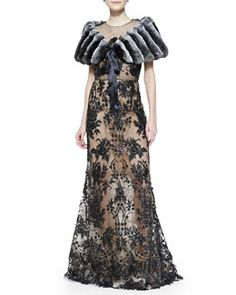 -567P Oscar de la Renta Chinchilla Fur Stole with Ribbon & Embroidered Lace Gown