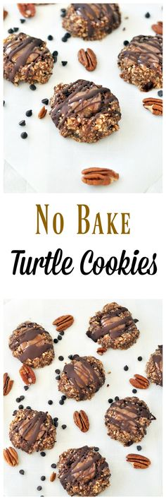 No Bake Turtle Cookies have all the delicious elements of the classic candy, but without the refined sugar, flour or butter! Vegan, gluten free and paleo!