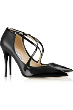 Finished with a black patent-leather toe, Jimmy Choo s dark-gray leather  pumps c76f1c55c10