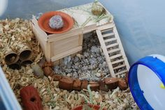 Hamster Popsicle stick home cave / Hamster cage decor- nice idea but i wonder what sort of glue you use? Hamster Bin Cage, Diy Hamster Toys, Small Hamster, Gerbil Cages, Hamster Care, Hamster Treats, Guinea Pig Toys, Pet Toys, Hamster Stuff