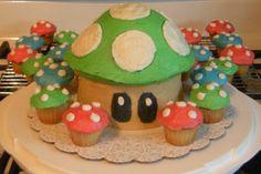 Super Mario Mushroom cakes ... just bought a Big Top Cupcake baker, and sooo making this!!!