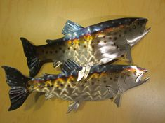 Rainbow Brown Lake Spotted Speckled Trout Fish Fly Fishing Flyfishing Metal Steel Wall Art Home Cabin Lodge Decor on Etsy, $85.00