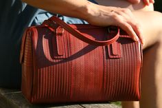 Luxury Post Bag made from reclaimed London fire hoses! (50% of profits go to Fire Fighters)