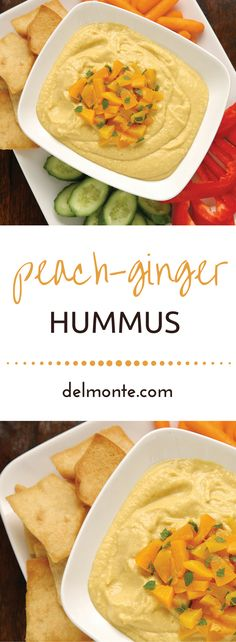 Peach-Ginger Hummus - With a twist on traditional hummus, fruit creates a mildly sweet and zesty dip, perfect for a party, snack or brown bag lunch for kids and adults.