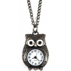 Black Owl Watch Necklace
