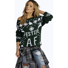Boohoo Faith Festive A.F. Christmas Jumper ($26) ❤ liked on Polyvore featuring tops, sweaters, bottle, sequin sweater, nordic sweater, party jumpers, black turtleneck sweater and sequin christmas sweater