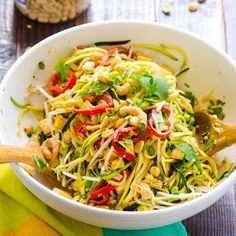 "Pad Thai Zucchini Noodle Salad ad Thai Dressing: 1/4 cup  peanut butter, 1/4 cup warm water, 3 T soy sauce, 1 T rice vinegar, 1 tbsp fish sauce, 1 tbsp honey, 1/2 lime, juice Salad: 1 tbsp coconut oil, 2 cups diced chicken, 2 medium zucchini, made into ""noodles""  1 large red bell pepper, 2 cups bean sprouts, 1/4 cup peanuts, 1 cup cilantro, chopped, 1/2 cup green onion, chopped, Dash of salt, soften veggies in coconut oil and use 1T in dressing."