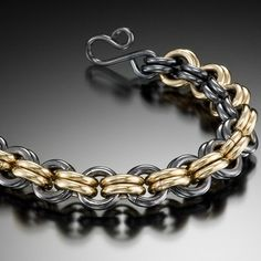 Anansi Blackened Silver and Gold Chain Link Bracelet by Diana Ferguson  ~  x
