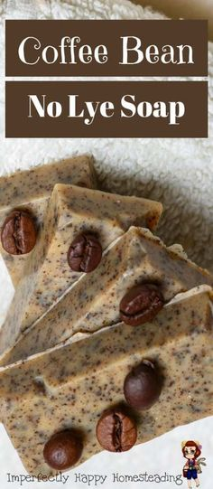 Coffee Bean, No Lye in the Recipe Soap. Easy to make, Melt and Pour Soap. -DIY Coffee Bean, No Lye in the Recipe Soap. Easy to make, Melt and Pour Soap. - Fluffy Whipped Soap // Easy to Make Coffee Bean Soap - a great melt and pour soap for beginning s. Lye Soap, Soap Molds, Diy Soap No Lye, Castile Soap, Glycerin Soap, Diy Soap Bars Without Lye, Diy Soap Recipe Without Lye, Making Soap Without Lye, Diy Organic Soap Without Lye