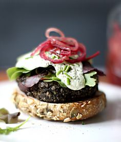 Wild Mushroom Lentil Burgers with Cashew Garlic Sauce at Whole Living | My New Roots