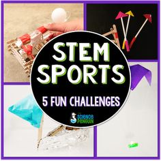 Summer-ready STEM Sports Challenges by The Science Penguin -- Fun science for summer camps, summer school, neighborhood get-togethers, or your own kiddos. End Of Year Activities, Science Activities, Science Ideas, Sports Activities, Summer Activities, Science Experiments, Stem Science, Teaching Science, Teaching Ideas