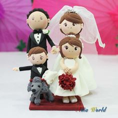 Wedding Cake topper Beautiful wedding clay couple with flower girl clay miniature and ring bearer boy clay miniatures, Engagement clay doll on Etsy, $127.50