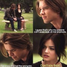 Jason And Aria Mais Jason Pretty Little Liars, Prety Little Liars, Pretty Little Liars Seasons, Family Show, Abc Family, Tv Quotes, Liars Quotes, Aria And Jason, Jason Dilaurentis