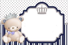 Oh my baby !: Bear party: Free prints, decoration ideas and more. Invitaciones Baby Shower Niña, Invitation Background, Baby Shawer, Bear Party, Free Prints, Baby Cards, Birthday Decorations, Baby Boy Shower, Baby Gifts