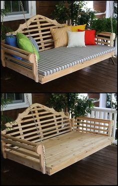This outdoor cedar swing bed is an elegant addition to your backyard or porch! It can come with a pergola, too! Need one?