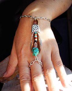 Bohemian Southwestern Slave Bracelet Boho Hippie Stone Tribal Silver Turquoise Native American Inspired