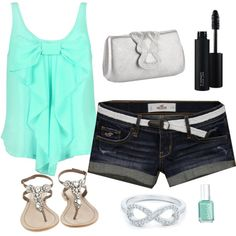 Turquoise by katiebergey on Polyvore featuring polyvore, fashion, style, Hollister Co., Antik Batik, Matthew Williamson, Tiffany & Co., MAC Cosmetics, Essie and clothing