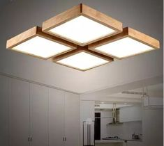 Ceiling Led Light Fixtures Modern brief Wooden led ceiling light square minimalism ceiling-mounted luminaire japanese style lustre for dining room Balcony. Ceiling Light Design, Modern Ceiling, Home Lighting, Lighting Design, Lighting Ideas, Balcony Lighting, Blitz Design, Diy Lampe, Plafond Design