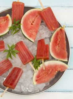Watermelon and raspberry ice pops. A simple but delicious, fruity recipe for homemade ice lollies..