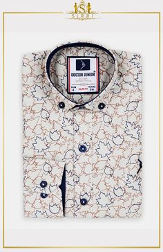 Shop Doctor Junior Boys Slim fit Leaves Print Cotton Beige Shirt at SIRRI. Exclusive to Sirri, our dazzling Leaves print shirt comes with button detail on sleeve so you can roll them up with no fuss. Printed Cotton, Printed Shirts, Beige Shirt, Leaf Prints, Boys Shirts, Slim Fit, Size Chart, Latest Trends, Kids Outfits