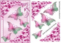Pretty chrysanthemums in pink with butterflies on Craftsuprint - Add To Basket!
