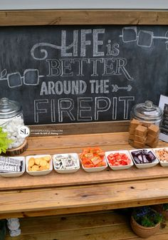Fire Pit Smores Party Bar #letsmakesmores