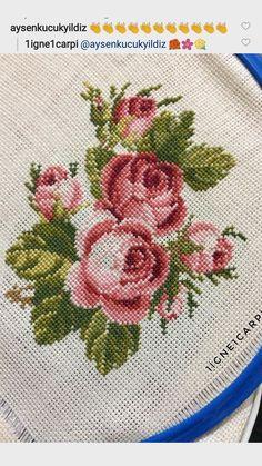 Cross Stitch Charts, Cross Stitch Designs, Cross Stitch Patterns, Basic Embroidery Stitches, Hand Embroidery, Madhubani Painting, Cross Stitch Flowers, Rose Bouquet, Needlepoint
