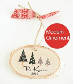 Modern Christmas family ornament from the Little Wee Shop